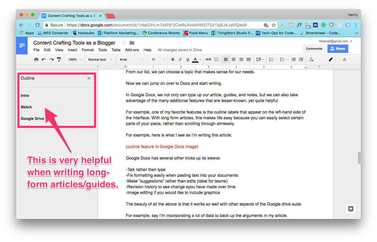 Outline feature in Google Docs